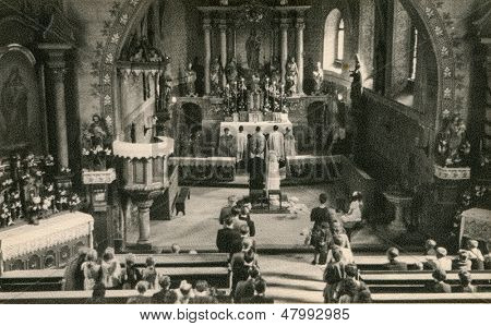 RYCHTAL, POLAND, CIRCA 18 JUNE 1946 - vintage photo of wedding ceremony in church, Rychtal, Poland, circa 18 June 1946