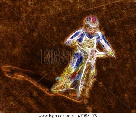 Abstract Dirt Track Motorcycle Racer
