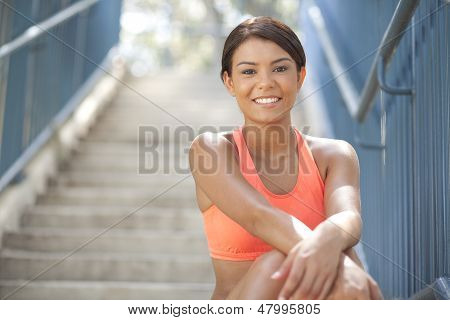Beautiful Athlete Smiling At Camera