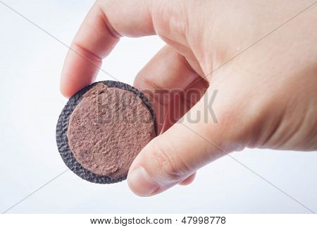 Hand Hold Sweet Cookie Isolated On White Background