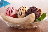 stock photo of banana split  - banana split - JPG