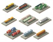 stock photo of railroad car  - Isometric trains and cars - JPG