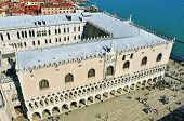 VENICE, ITALY - APRIL 12: Aerial view of Palazzo Ducale on April 12, 2013 in Venice, Italy. Formerly