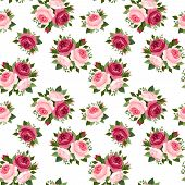stock photo of english rose  - Vector seamless pattern with red and pink English roses - JPG