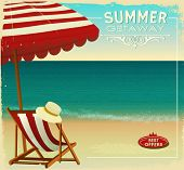 Tropical Beach Summer Poster, with beach umbrella and lounge chair on a sandy beach with wonderful o