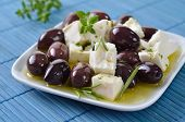 picture of kalamata olives  - Greek Kalamata olives and feta cheese with olive oil - JPG