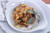stock photo of tripe  - Dish Of Italian Cuisine Tripe Cooked With Tomato Sauce - JPG