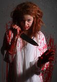 foto of bloody  - Woman in Horror Situation With Bloody Face - JPG