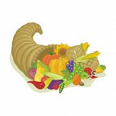 picture of horn plenty  - Abundance horn with various harvest fruits and vegetables - JPG