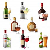 stock photo of liquor bottle  - 8 highly detailed icons of alcohol drinks and cocktails - JPG