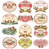 stock photo of vintage antique book  - vintage labels with flower - JPG