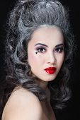 picture of marquise  - Portrait of young beautiful asian girl with vintage hairdo and stylish make - JPG