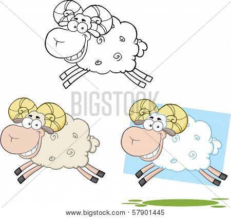 Ram Sheep Cartoon Characters Jumping  Collection Set