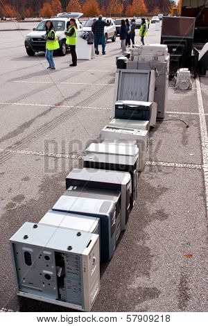 Volunteers Stack Computers At County Recycling Event