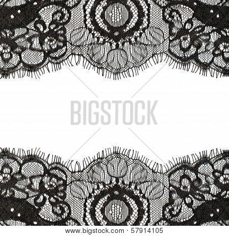 Black lace edges on white