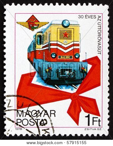 Postage Stamp Hungary 1978 Diesel Train, Pioneer's Kerchief