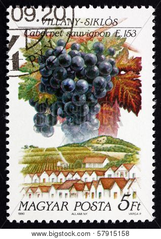 Postage Stamp Hungary 1990 Cabernet Sauvignon, Villany-siklos
