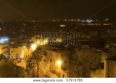 City of Fes in Morocco North Africa at night