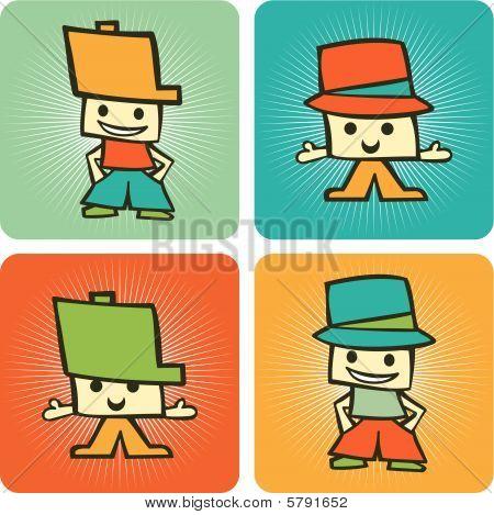 zwei Kinder funny Cartoon Zeichen Muster