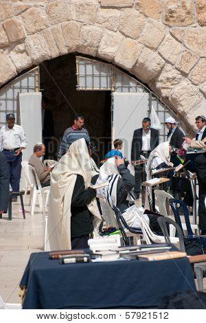 Jerusalem, Israel - March 14, 2006: Men Pray At The Wailing Wall.