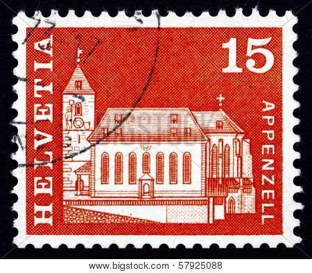 Postage Stamp Switzerland 1968 St. Mauritius Church, Appenzell