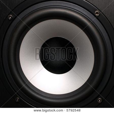 Black Loudspeaker With A Silver Woofer