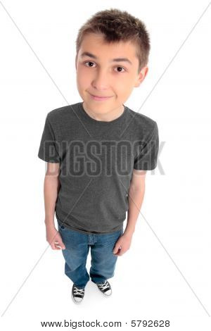 Above View Of A Boy Preteen