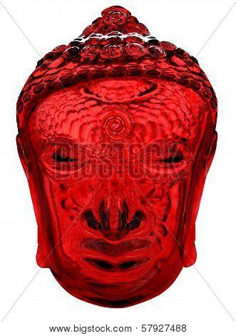 Buddha Head in Red Glass