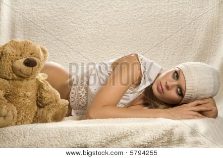 Lying Attractive Young Girl