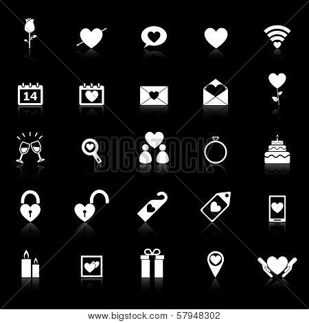 Valentine's Day Icons With Reflect On Black Background