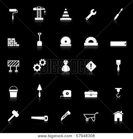Construction Icons With Reflect On Black Background