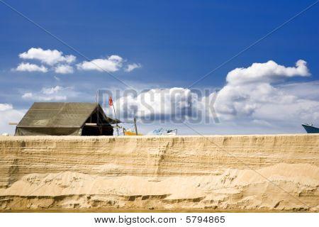 Fisherman's Hut On Tropical Beach