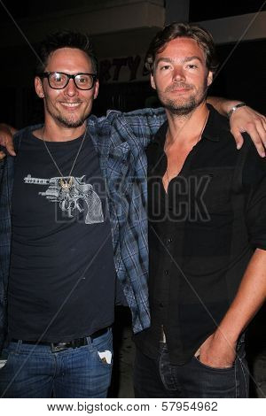 Denny Kirkwood, Chris Meyer at the wrap party for the upcoming