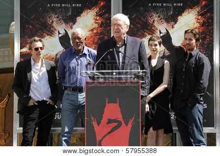 Gary Oldman, Morgan Freeman, Michael Caine, Anne Hathaway and Christian Bale at the Christopher Nolan Hand and Footprint Ceremony, Chinese Theater, Hollywood, CA 07-07-12