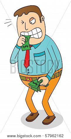 Man Biting Money