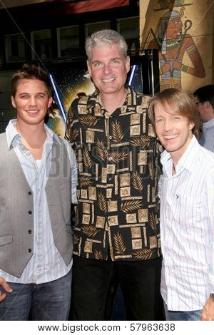 Matt Lanter with Tom Kane and James Arnold Taylor  at the U.S. Premiere of 'Star Wars The Clone Wars'. Egyptian Theatre, Hollywood, CA. 08-10-08