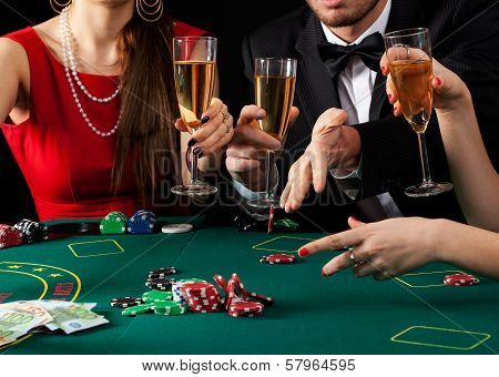 Gamblers Drinking Champagne