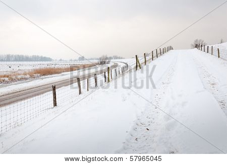 Curved Country Road And Fences In Wintertime
