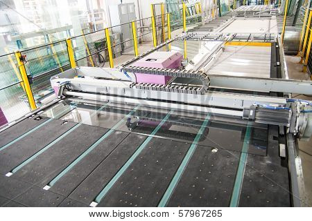 Machinery In A Glass Window Factory