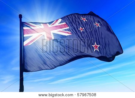 New Zealand flag waving on the wind