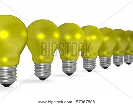 Row Of Yellow Reflective Light Bulbs In Perspective