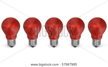Row Of Red Reflective Light Bulbs. Front View