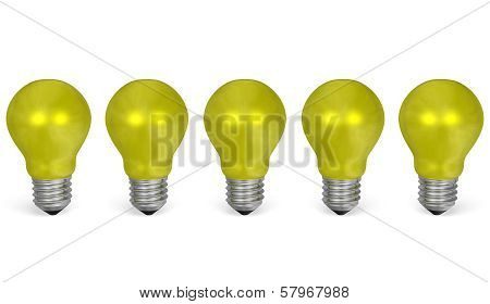 Row Of Yellow Reflective Light Bulbs. Front View