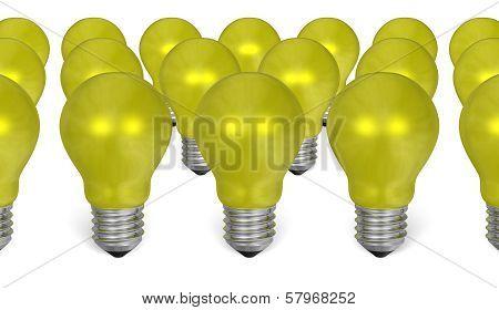 Group Of Yellow Reflective Light Bulbs