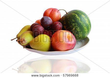 different fruits watermelon pears plums and nectarine