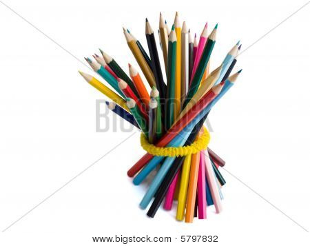 Colored Pencils tied with a yellow rubber band
