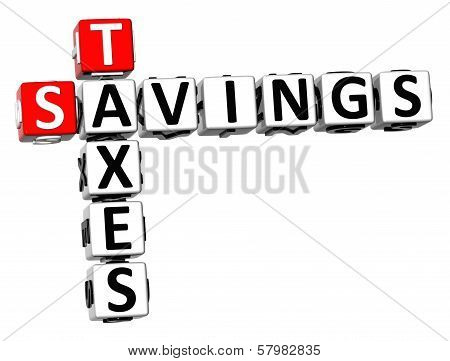 3D Savings Taxes Crossword