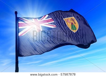 Turks and Caicos Islands flag waving on the wind