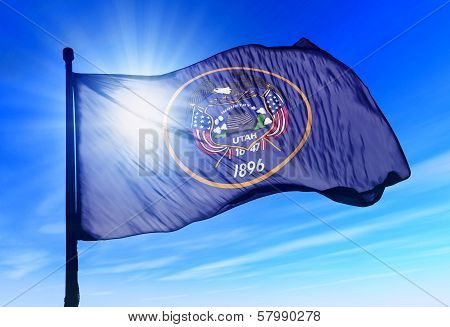 Utah (USA) flag waving on the wind