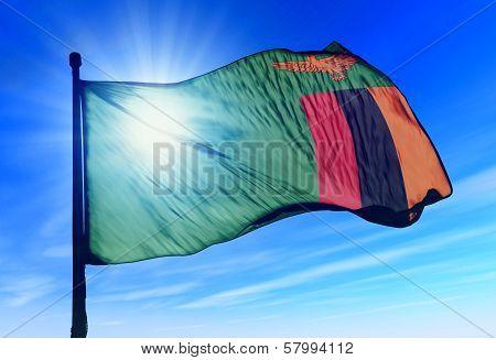 Zambia flag waving on the wind